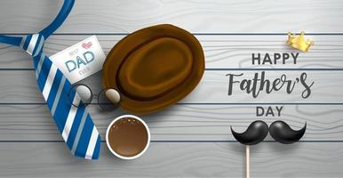 Happy Father's Day background or banner with realistic elements. vector