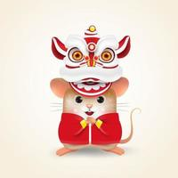 Rat character with chinese costume. Happy Chinese New Year.