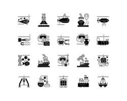 Marine exploration black linear icons set vector