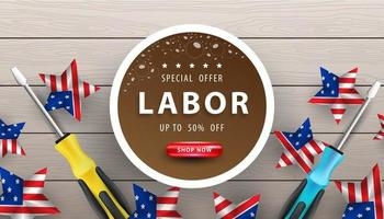 Happy Labor Day background with realistic elements. vector