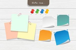 nota de papel y elementos de oficina. concepto de objeto recordatorio. vector
