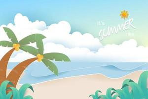 Beach and sea background. Summer background concept. vector