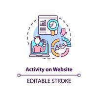 Activity on website concept icon vector