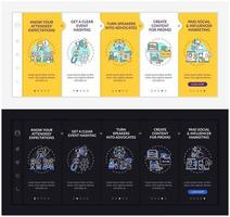 Online conference marketing onboarding vector template