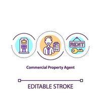 icono de concepto de agente de propiedad comercial vector