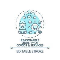 Icono de concepto de calidad de bienes y servicios razonables vector