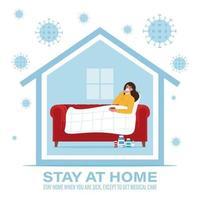 Coronavirus concept. Stay at home during the coronavirus epidemic vector