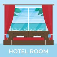 Hotel room with beach and sea landscape view in window vector