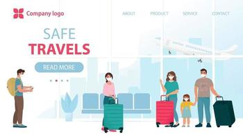 Air travel new reality, safe flight concept vector