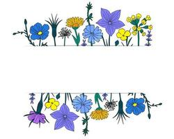 Floral frame with cute spring wildflowers. Simple hand drawn style vector