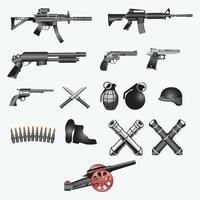 conjunto de plantillas de diseño de vectores de armas de fuego