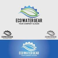 Conjunto de plantillas vectoriales de diseño de logotipo de engranajes de agua ecológica vector