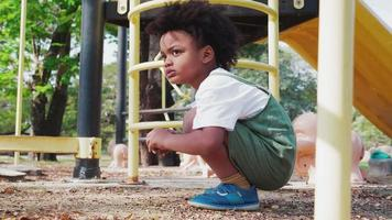 Cute Little African American Kid Boy Having Fun While Playing on The Playground in The Daytime in Summer.