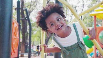 Cute African American Little Boy Having Fun While Playing on The Playground in The Daytime in Summer.