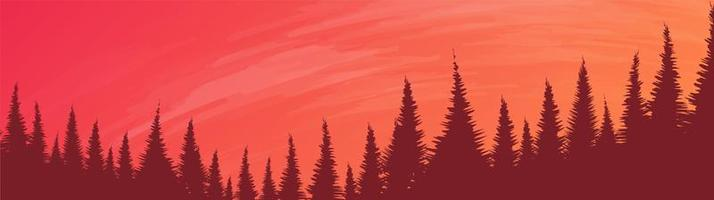 Vector Panorama Pine Forest with River, landscape background, foggy and mist concept design.