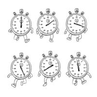 Stopwatch Running Run Cycle Drawing Sequence set vector