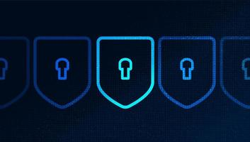 La tecnología digital protege el diseño de fondo del concepto de seguridad, protección y conexión. vector