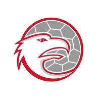 mascota de balonmano cabeza de águila europea retro vector