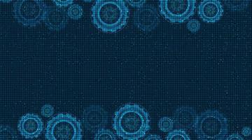 Digital Technical Gears wheel and Cock on Technology Backgroun vector