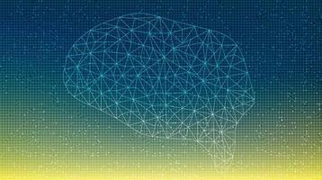 Brain Technology on Circuit Microchip Background vector