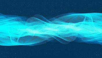 Onda de sonido digital futurista sobre fondo azul claro vector