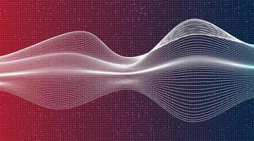 Onda de sonido digital moderna en vector de fondo de tecnología púrpura.
