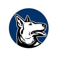 cabeza de perro pastor alemán mirando hacia arriba logo vector