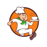 speedy chef running with dish circle vector