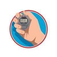 hand holding digital stopwatch mascot vector