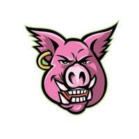 pig head wearing earring mascot vector