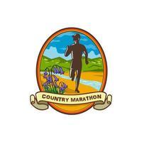 insignia de campanillas de corredor de maratón de país vector