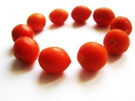 Círculo de tomates sobre un fondo blanco. foto