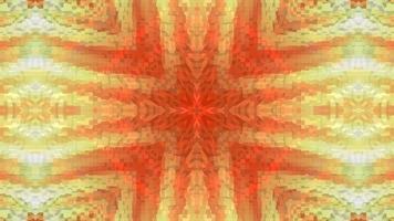 strukturiertes gelb-orange Hintergrundkaleidoskopkreuz. video