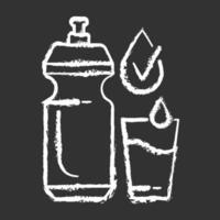 Beber suficiente agua tiza icono blanco sobre fondo negro vector