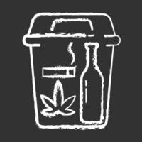 Quitting bad habits chalk white icon on black background vector