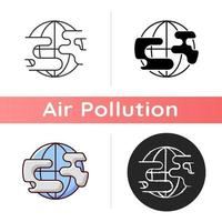 Polluted planet icon vector