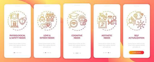 Human being needs red onboarding mobile app page screen with concepts vector
