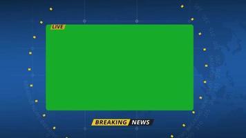 tela verde da placa de informações das últimas notícias
