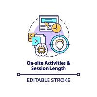 On site activities and session length concept icon vector