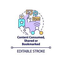Content consumed, shared, bookmarked concept icon vector