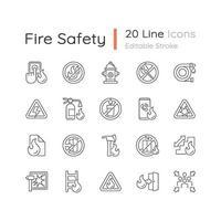 conjunto de iconos lineales de seguridad contra incendios vector