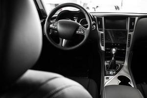 Details of the car interior, black leather interior photo