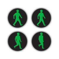 semáforo, hombre, caminata, ciclo, secuencia vector