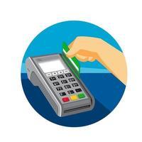 Ilustración de estilo retro de una mano deslizando una tarjeta de crédito en el terminal de punto de venta