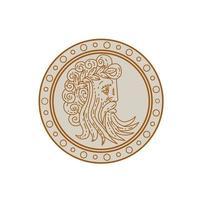 dios griego zeus cabeza, monoline, vista lateral vector