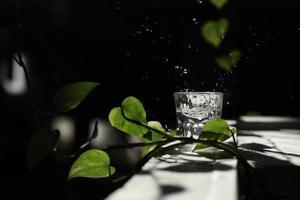un vaso de agua sobre una mesa blanca con una rama de una hoja verde. salpica en los rayos del sol. un vaso con agua foto
