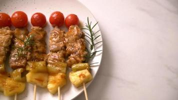 Grilled Pork Barbecue Skewers on Plate