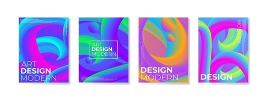 Poster set with gradient shapes composition background for corporate brochure and banner vector