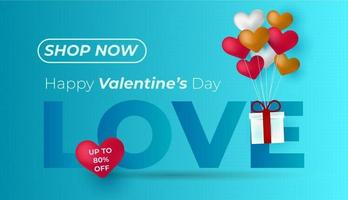 Valentine's Day and Love banner with sweet heart and lovely items on blue background vector