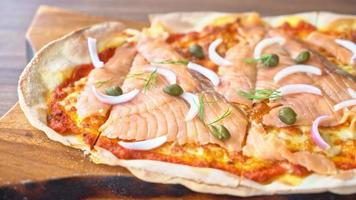 Smoked Salmon Pizza on Wooden Board